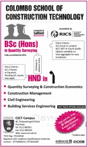 BSc (Hons) in Quantity Surveying Degree Programme from Colombo School of Construction Technology