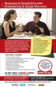 Business & Social Etiquette, Entertaining & Social Manners workshop on 31st October 2013