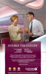 Buy 1 Get 1 Free Qatar Airways Business class Ticket till 6th November 2013 (Booking Period)