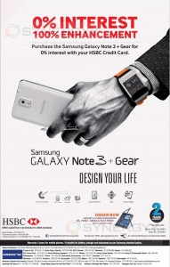 Buy Samsung Galaxy Note 3 & Galaxy Gear Smart Watch for HSBC 0% Installment Scheme – Till 30th October 2013