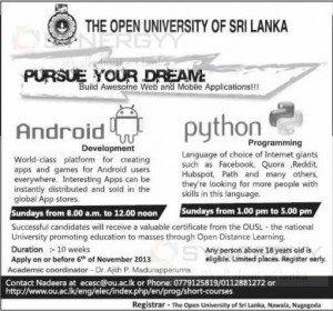 Certificate Course in Android Application & Python Programme in Sri Lanka from Open University of Sri Lanka