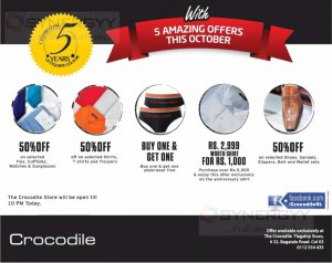 Crocodile 50% Off on 5th Year Celebration
