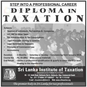 Diploma in Taxation by Srilanka Institute of Taxation