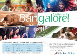 Exciting Bangalore Shopping Now for Rs. 10,900.00 + Taxes from Sri Lanka