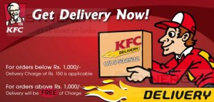 KFC Free Home Delivery Again for Order more than Rs. 1,000.00