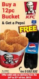 KFC Home Delivery Promotion Buy 12 Pc Bucket & get a Pepsi Free till 30th October 2013