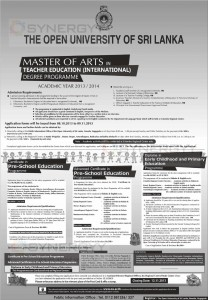 Master of Arts in Teacher Education (International) Degree Programme by Open University of Sri Lanka
