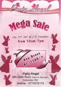 Party Angel Mega Sale in Colombo till 27th October 2013