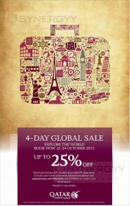 Qatar Airways 4-Day Global Sale – Starts today to 24th October 2013
