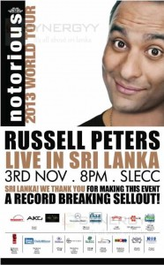 Russell Peters Live in Sri Lanka on 3rd November 2013 from 8.00 PM at SLECC.