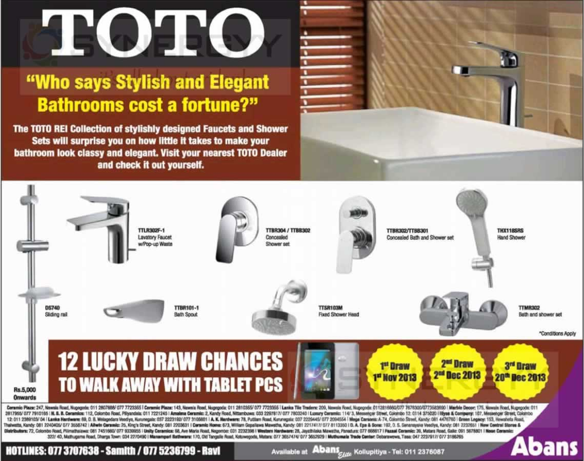 Toto Stylist Bathroom Fittings Now at Abans – October 4 – SynergyY