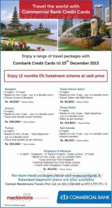 Travel the world with Commercial Bank Credit Card – Tour Promotion till 25th December 2013