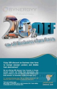 20% on All Business Class fares on Oman Air – Valid from 1st to 20th November 2013