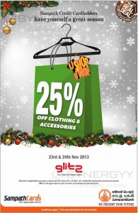 25 % off at Glitz – 23rd & 24th November 2013