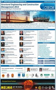 4th International Conference on Structural Engineering and Construction Management 2013 on 13th, 14th & 15th December 2013 at Earl's Regency Hotel