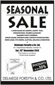 50% off at Delmege Forsyth Seasonal sale - only on 23rd November 2013