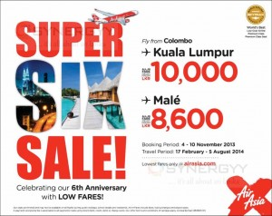 Air Asia X Super 6 sale – Booking from 4th to 8th November 2013