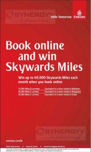 Book Emirates Online and Win Skywards Miles for free