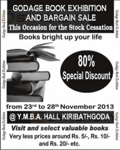Godage Book Exhibition and Bargain Sale – From 23rd to 28th November 2013