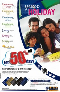 HNB 50% off at Cinnamon & Chaaya Range of Hotels till 20th December 2013