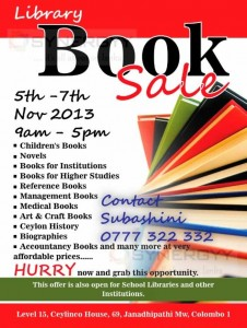 Library Bok Sale on 5th to 7th November 2013 at Ceylinco House