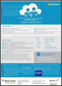 MS 10750 - Monitoring and Operating a PRIVATE CLOUD with System Centre 2012 Workshop from 17th to 21st November 2013