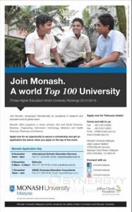 Monash University Malaysia Students Enrollment in Sri Lanka – 6th & 7th November 2013