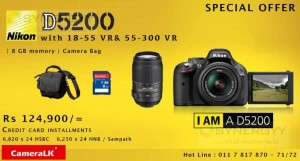 Nikon D5200 with 18-55VR & 55-300 VR for Rs. 124,900.00 from CameraLK