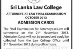 Sri Lanka Law College Attorneys-At-Law Final Examination – October 2013