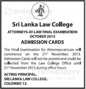 Sri Lanka Law College Attorneys-At-Law Final Examination - October 2013