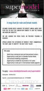 Supermodel Sri Lanka – Applications calls till 19th November 2013