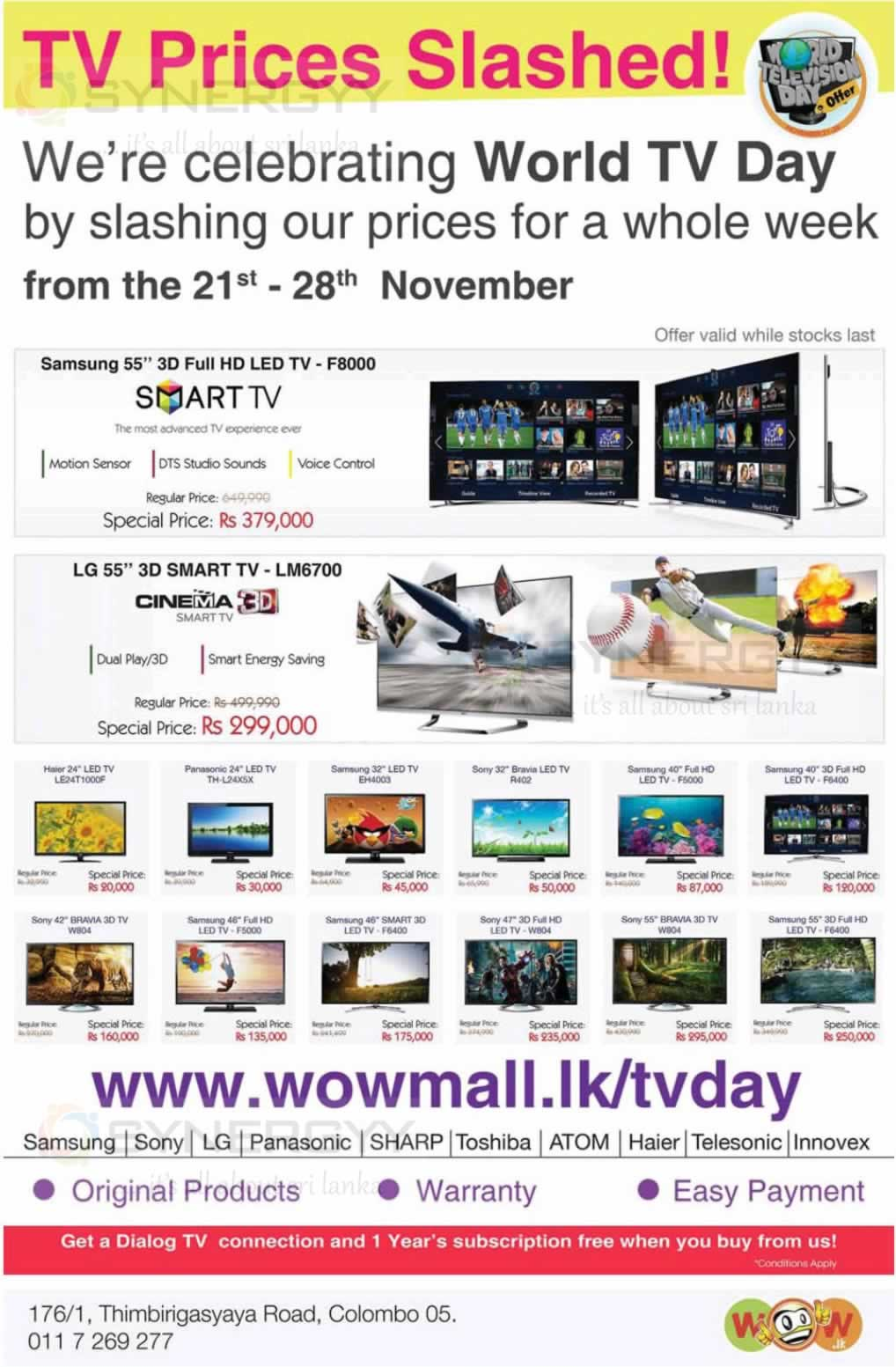 TV Prices in Sri Lanka -WOW lk Promotion from 21st to 28th Nov 2013