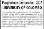 University of Colombo Postgraduate Convocation – 2013 on 21st November 2013