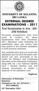 University of Kelaniya Sri Lanka External Degree Examinations – 2011 – 2013