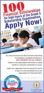 100 Scholarships for Highflyers at Scholarships examination – Apply before 31st December 2013 by Srilanka Insurance