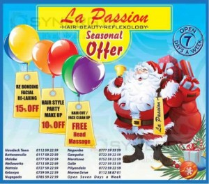 La Passion Hair- Beauty Reflexology seasonal Off – till 31st December 2013