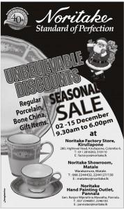 Noritake Seasonal Sale from 2nd to 15th December 2013
