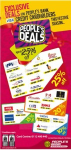 People's Bank Credit Card offer upto 25% – December 2013