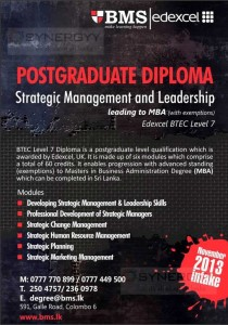 Postgraduate Diploma in Strategic Management and Leadership Leading to MBA from BMS
