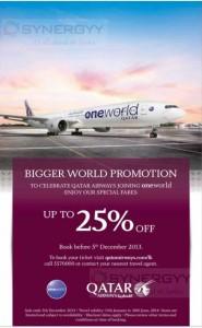 Qatar Airways 25% off ends tomorrow 5th Dec 2013