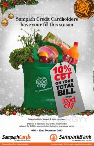 Sampath Bank Credit Card offer for Cargills Food City from 7th to 22nd December 2013