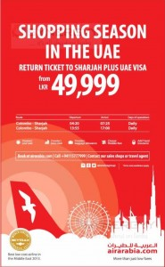 Air Arabia Shopping Seasonal Offer to UAE – Rs. 49,999.00 upwards to Sharjah