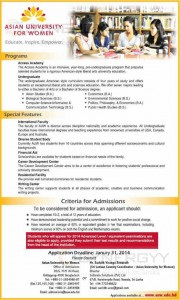 Asian University for Women, Bangladesh Degree Programmes for Srilankan Student – Applications Call till 31st January 2013