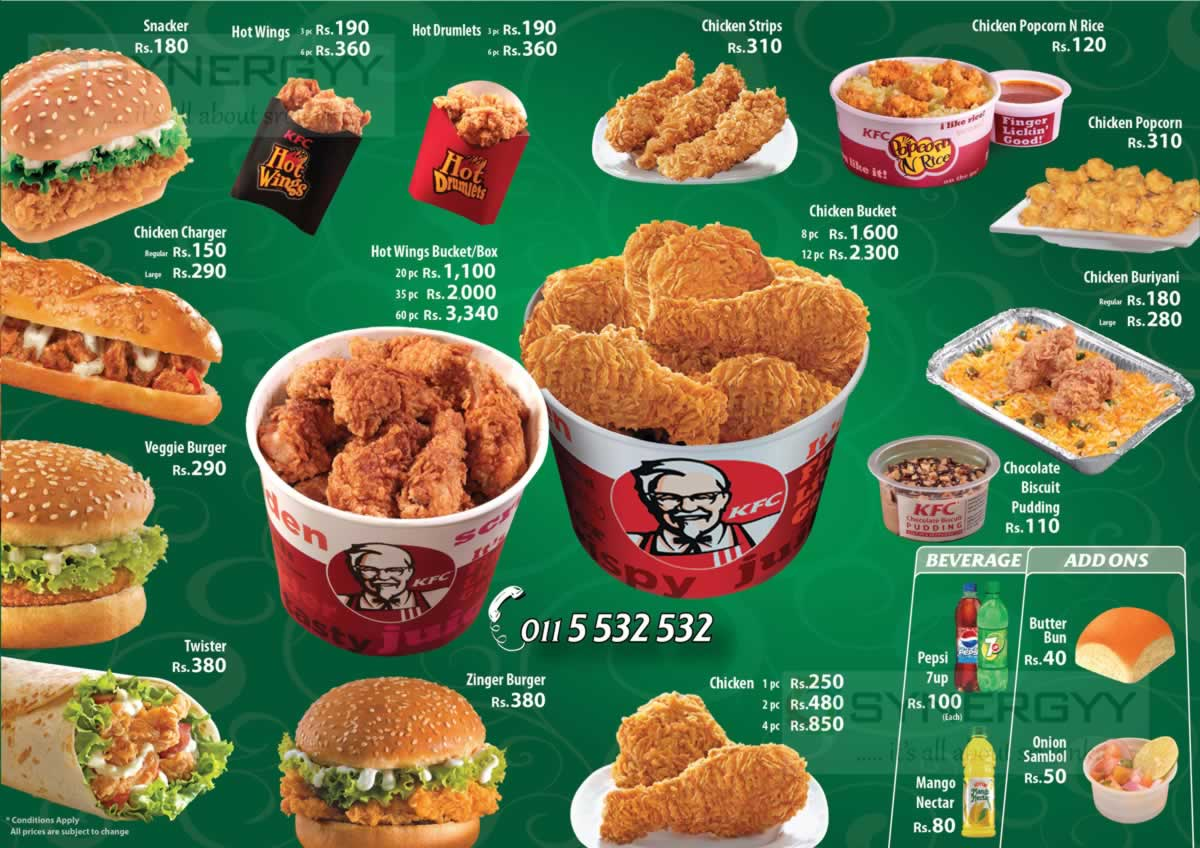 Now Kfc At Cargills Square In Jaffna Updated Kfc Menu Attached For