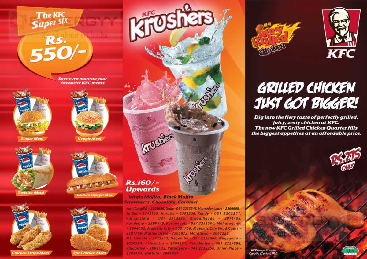 KFC Menu Prices 2014