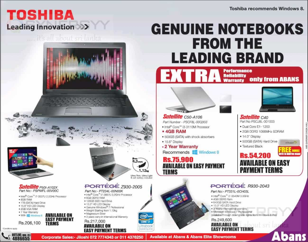 Toshiba Laptops Prices And Promotions In Sri Lanka Synergyy