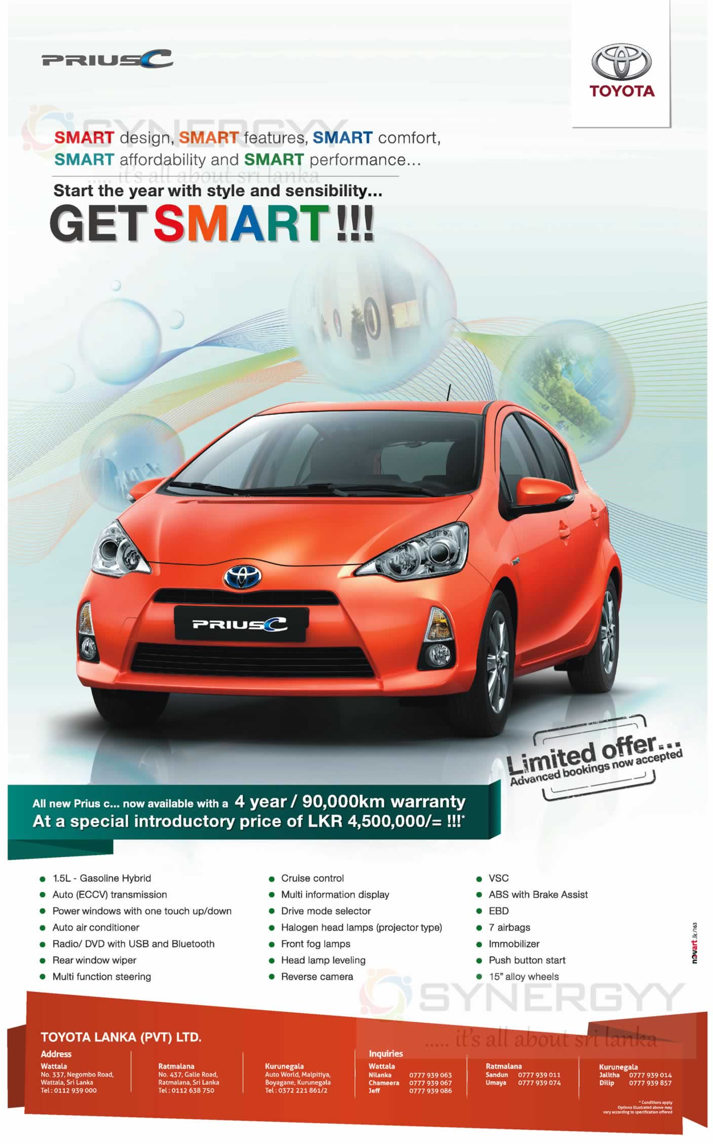 Toyota Prius C For Lkr 4 500 000 00 Now In Srilanka 171 Synergyy