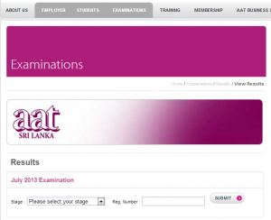AAT Srilanka July 2013 Examination Results are released