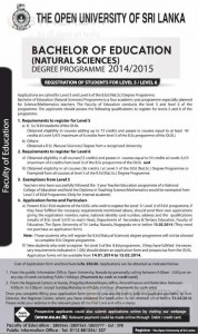 Bachelor of Education Degree Programme 2014/2015 by Open University of Sri Lanka