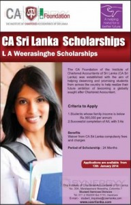 Chartered Accountants Sri Lanka Scholarships (L A Weerasinghe Scholarships)- JanuaryFebruary 2014